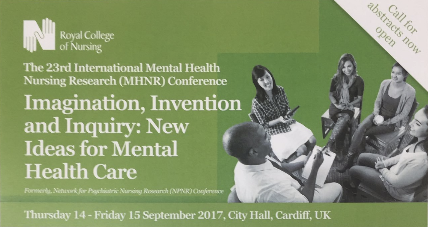 #MHNR2017 Mental Health Nursing Research conference, Cardiff, Sep 2017